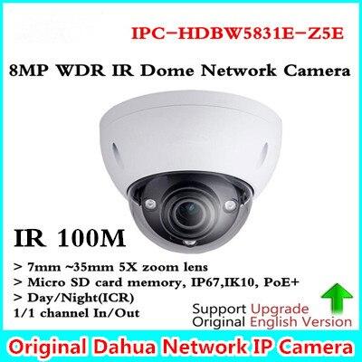 Brand Original 8MP WDR IR 100M Dome Network Camera 7mm ~35mm 5X zoom lens with POE+ ICR IPC-HDBW5831E-Z5E Free shipping free shipping dahua cctv camera 4k 8mp wdr ir mini bullet network camera ip67 with poe without logo ipc hfw4831e se