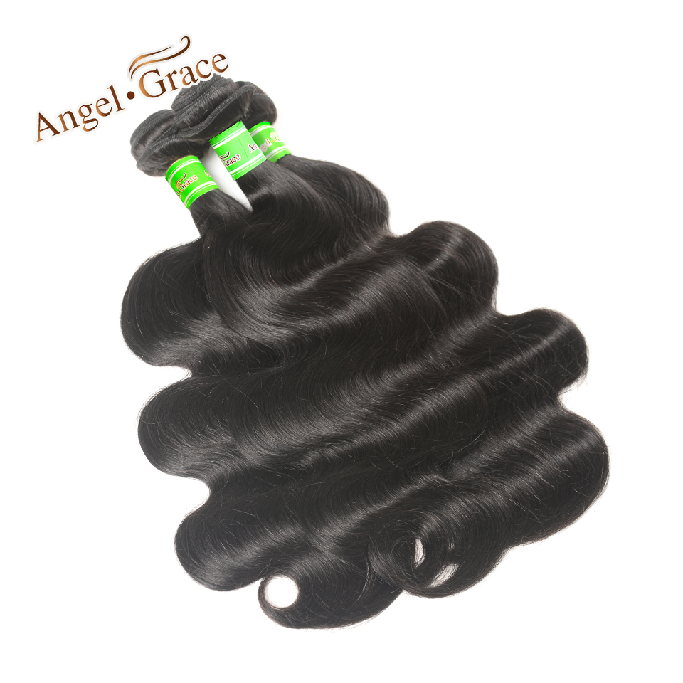 ANGEL GRACE Peruvian Body Wave 3 Bundles 8-28 Inch Remy Hair Extensions Natural Color Human Hair Weave Bundles Free shipping