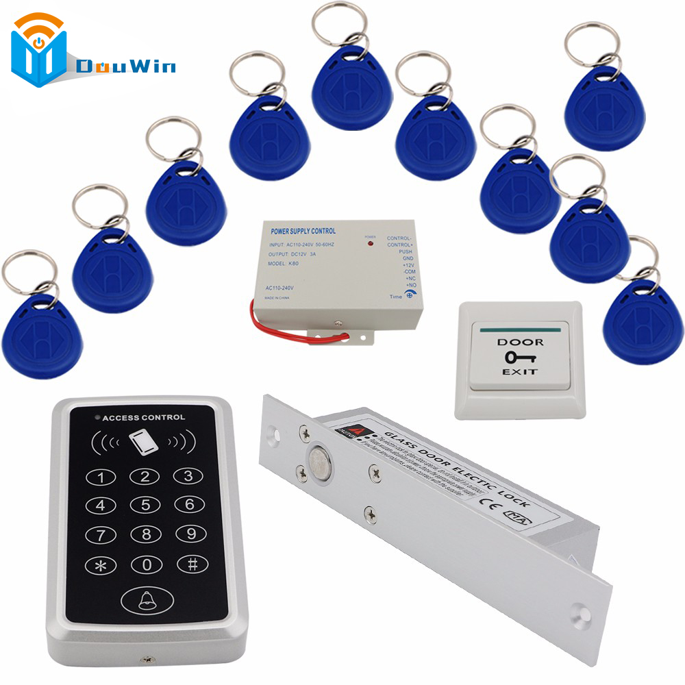 Access Control Door system RFID Keychain card+ Power supply+Electric Door Lock+119 rfid Card Reader+exit button DIY KIT Winte diysecur rfid id card keypad door access control system kit electric lock exit button b100
