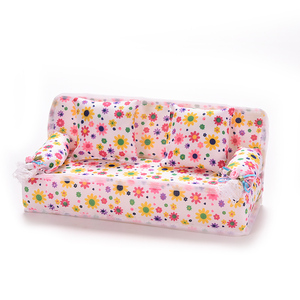 Image 4 - 1Set Cute Miniature Doll House Furniture Flower Cloth Sofa With 2 Cushions For Doll Kids Play House Toys