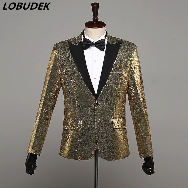 6 Colors Sparkly Sequins Men's Jacket Coat Costume Bar Nightclub Male Singer Chorus Stage Outfit Wedding Host Prom Party Costume