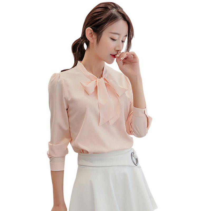 Liva girl Women Bowknot Chiffon Blouse Shirt Office Lady Formal Workwear Shirt Casual Tops For Spring Autumn
