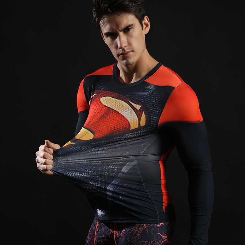 Fitness Compression T-Shirts Herrar Superhero Marvel Captain - Herrkläder - Foto 3