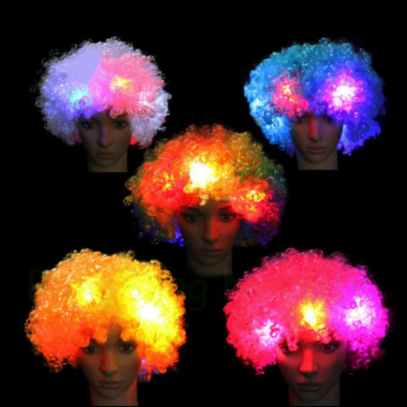 10PCS LED Wigs Light Up Mohawk Wig Cosplay Clown Funny Flashing Curly Wig For Fans Party
