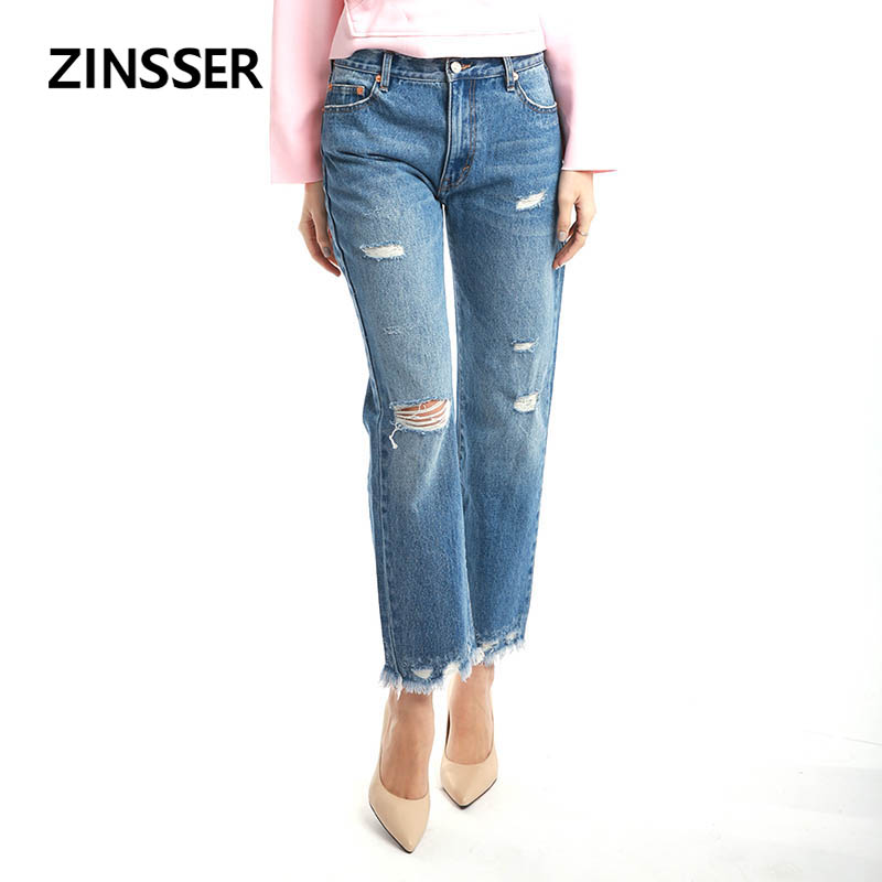 Autumn Winter Women Denim Regular Pants Casual Destroyed High Waist 100% Cotton Washed Blue Ripped Boyfriend Female Lady Jeans