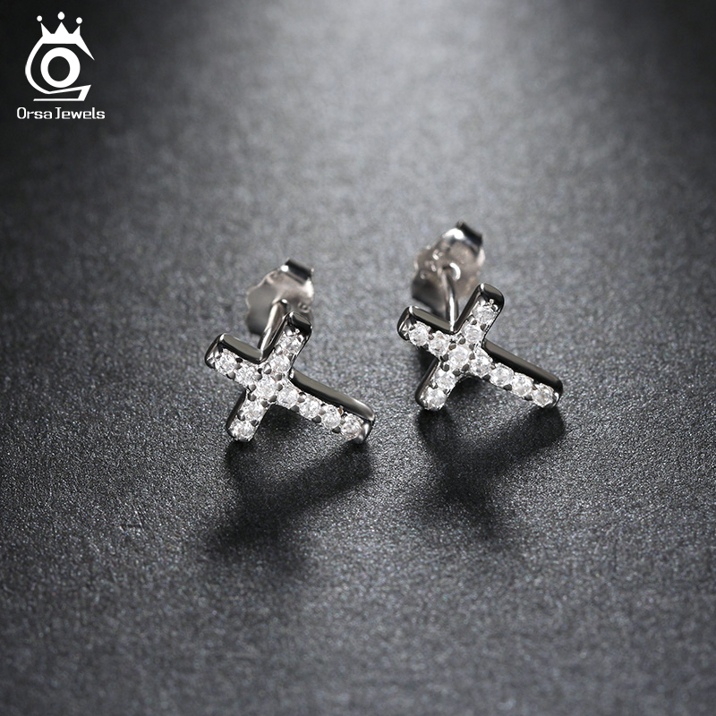 Vintage Small Rhinestone Cross Stud Earrings For Men Women Casual Jewelry Lover Oew132 In From Accessories On Aliexpress