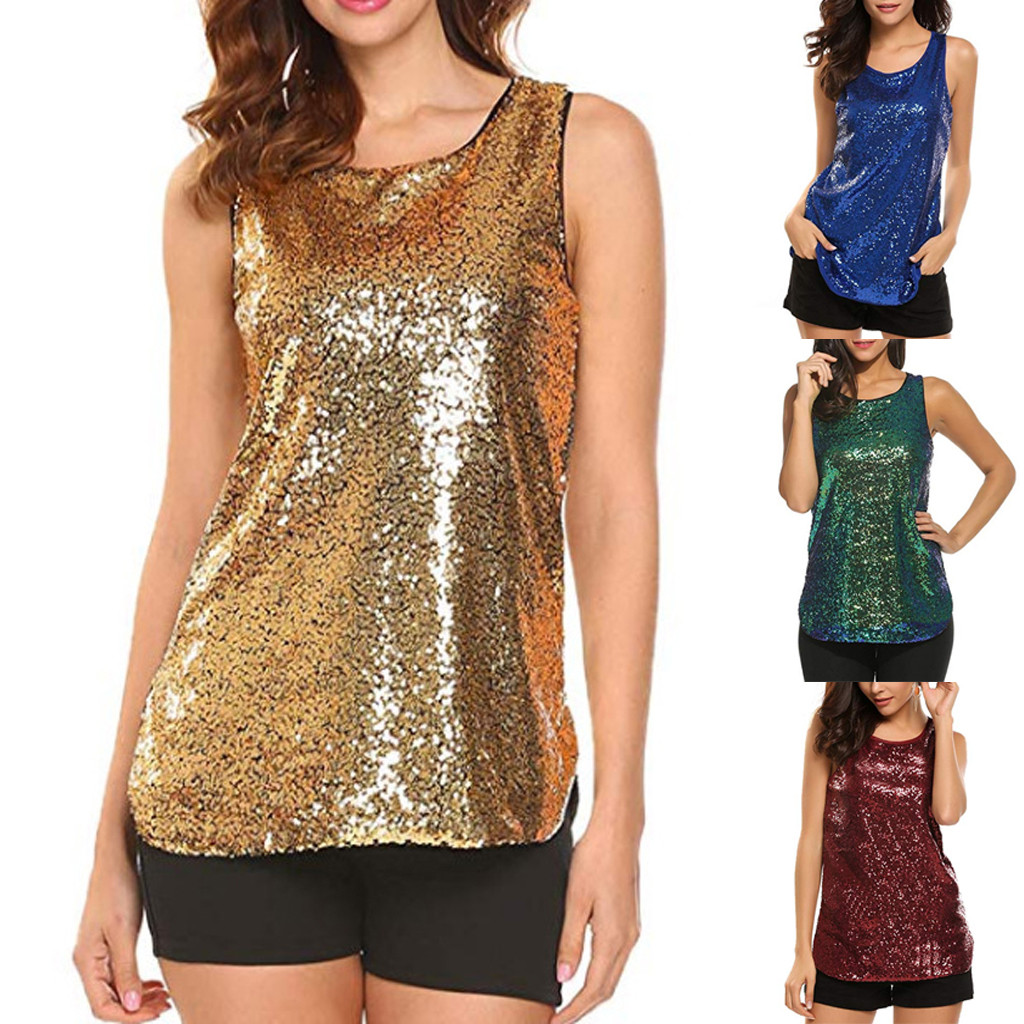 Korean Style Clothes Aesthetic Women's Sleeveless Sparkle Shimmer Camisole Vest Sequin   Tank     Tops   Glitter Tee Shirt Femme Modis
