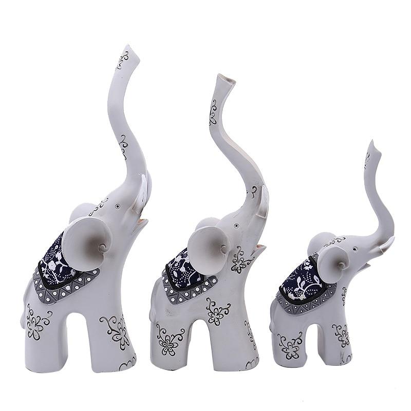 Décor à la maison Éléphants Ornements de Bon Augure Sambo Miniature Éléphant Figurine Résine Peinte À La Main Décoration Ornements De Cadeau De Mariage