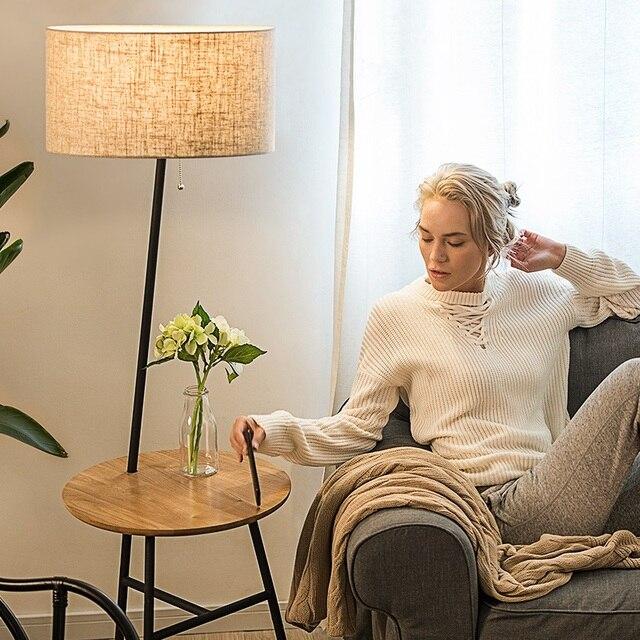 Wooden Floor Lamp Modern Living Room Bedroom Study Floor Standing Lamps  White Fabric Wooden Floor Lights