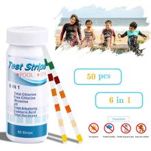 50Pcs 6 in 1 SPA Pool Test Strips for PH Total Chlorine Alkalinity Cyanuric Acid