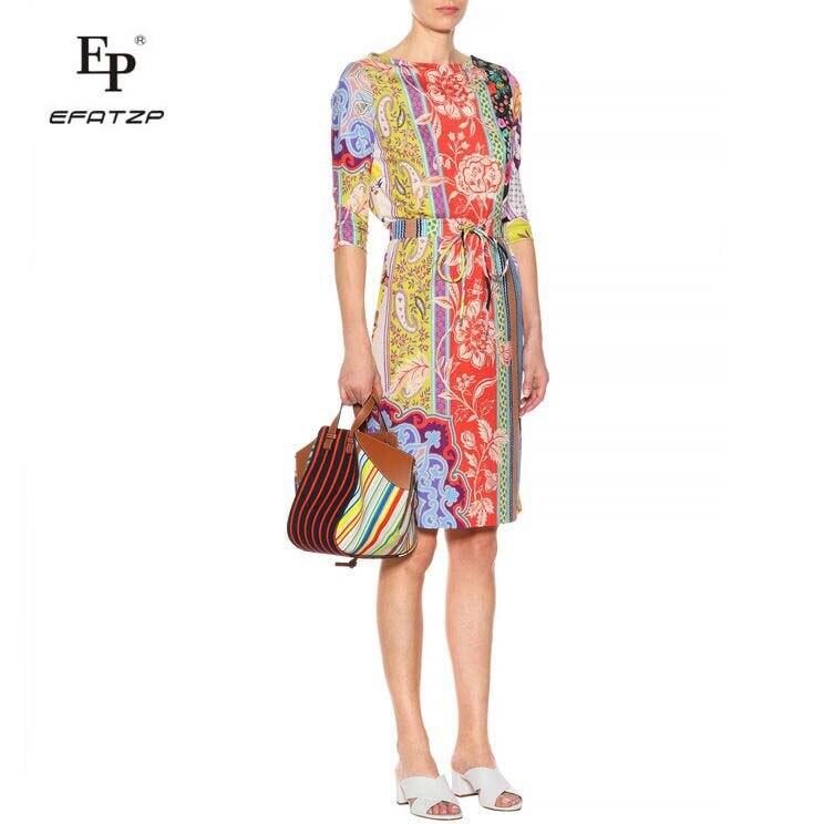 New 2018 Luxury Designer Dress Women s Fashion 3 4 Sleeves Colorful Flower Print XXL Stretch