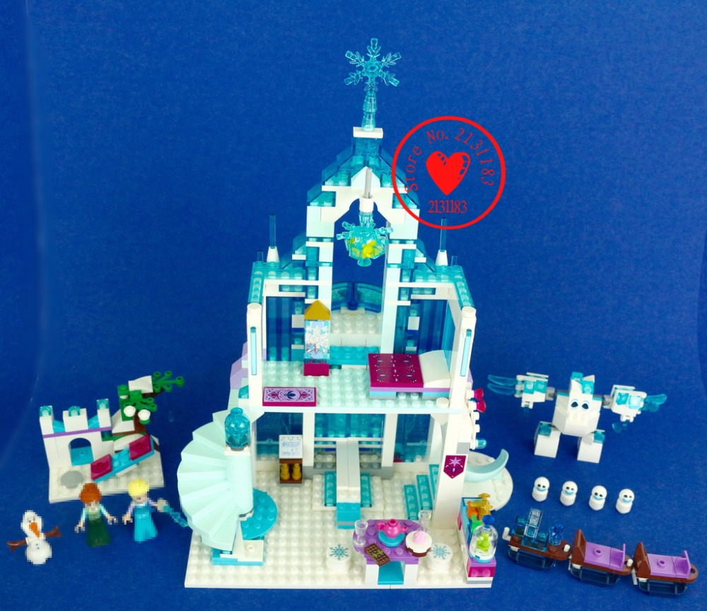 10664 Elsa`s Magical Ice anna Castle Model building blocks kits toys kid 41148 compatible legoes gift girls princess castle hot mobile game movie angried king pig castle building block crazy birds minifigures bricks compatible legoes 75826 toys for kid