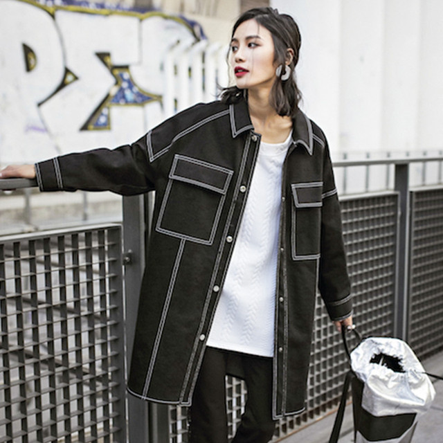 Новый конструктор Весна и Осень свободные Casaul Мода Женщины полный Рукавом одежда пальто куртки женские пальто плюс размер длинные Джинсовые куртки