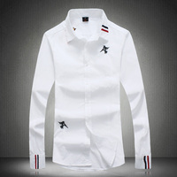 Hot Sale Cotton Men Shirt Long Sleeved Double Striped Design Solid Male Business Shirt Brand Clothing