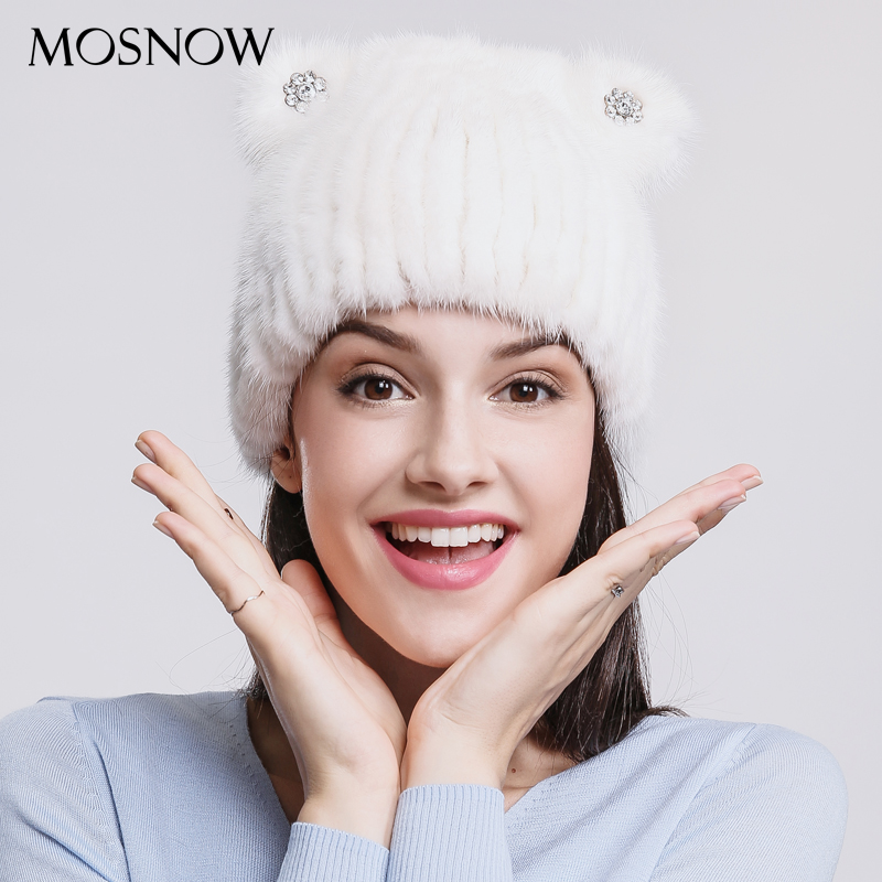 MOSNOW 100% Real Mink Fur Women Hat Female Lovely 2017 Cute Cat Ear With Diamond Winter Women's Hat Skullies Beanies #PCM715 hot anime cat yellow cosplay hat cap costume accessory cartoon adult lovers hat winter totolo hat female ear plush animal hat