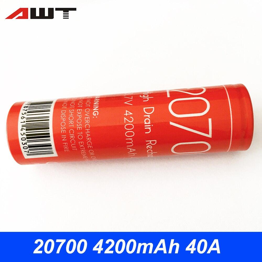AWT 20700 Batteria 3.7 V 4200 mAh 40A Li-Ion Batteria per Vaporesso Armatura Pro IJOY Capo E Sigaretta Vape Box mod VS IJOY 20700 T056