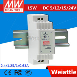 5V 12V 15V 24V  MEAN WELL 12W 15W 2.4A 1.25A 1A 0.63A  Industrial DIN Rail Power Supply DR-15-5 DR-15-12 DR-15-15 DR-15-24
