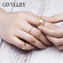 GIVVLLRY Minimalist 5 pcs/set Midi Ring Sets for Women Geometric Carved Crystal Mosaic Rings Jewelry Elegant Wedding Knuckle Set