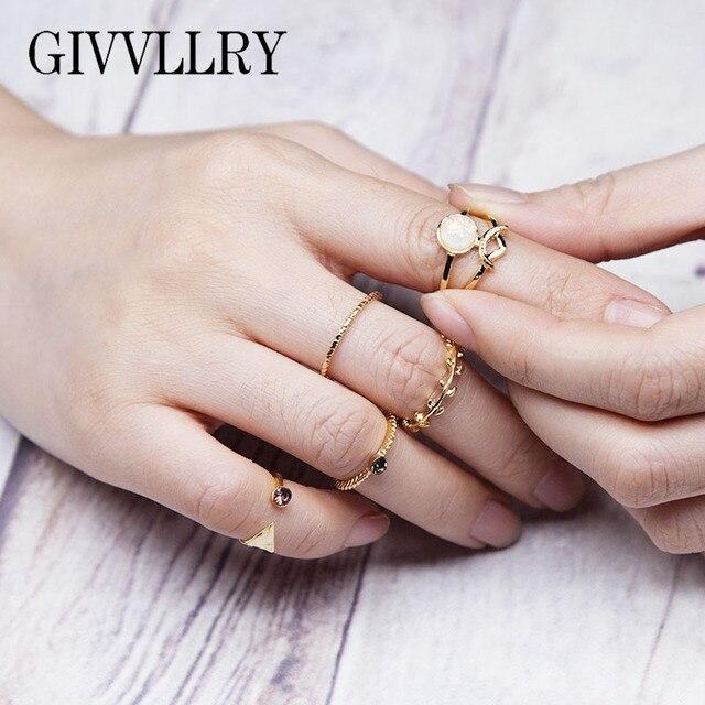 GIVVLLRY Minimalist Midi Ring for Women Elegant Geometric Triangle Metal Leaf Ci