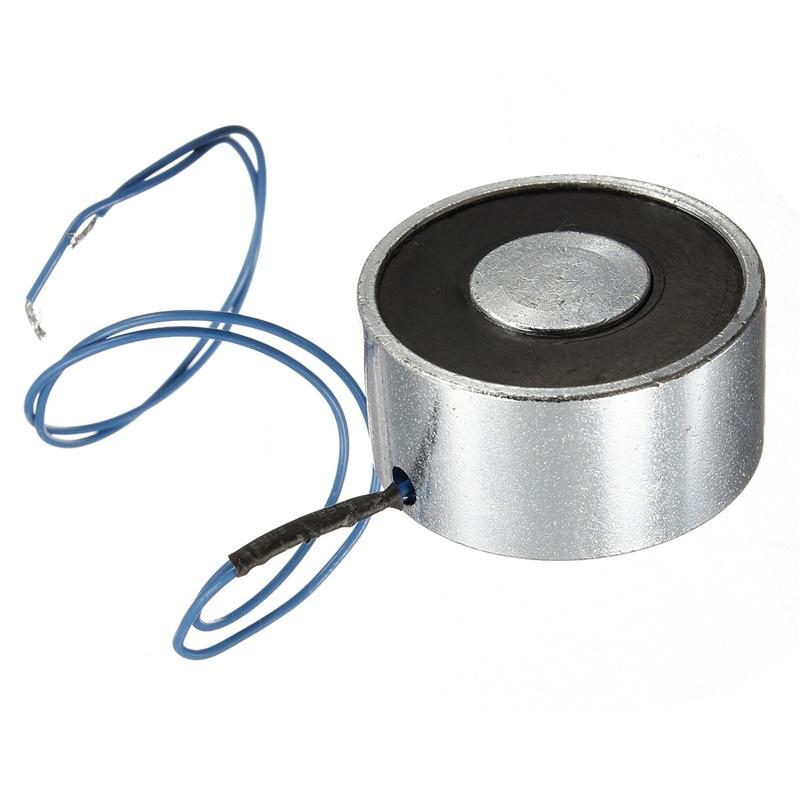 For DC 12V 25kg 55LB Electromagnet Electric Lifting Magnet Solenoid Lift Holding Suction Super 24v 40kg 88lb 49mm holding electromagnet lift solenoid x 1