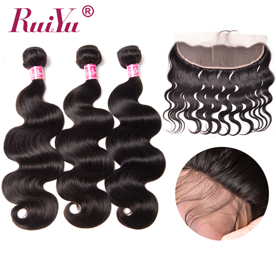 RUIYU Body Wave Bundles With Frontal Non Remy Hair Bundles With Closure Lace Frontal 13*4 Middle Free Three Part Indian Hair