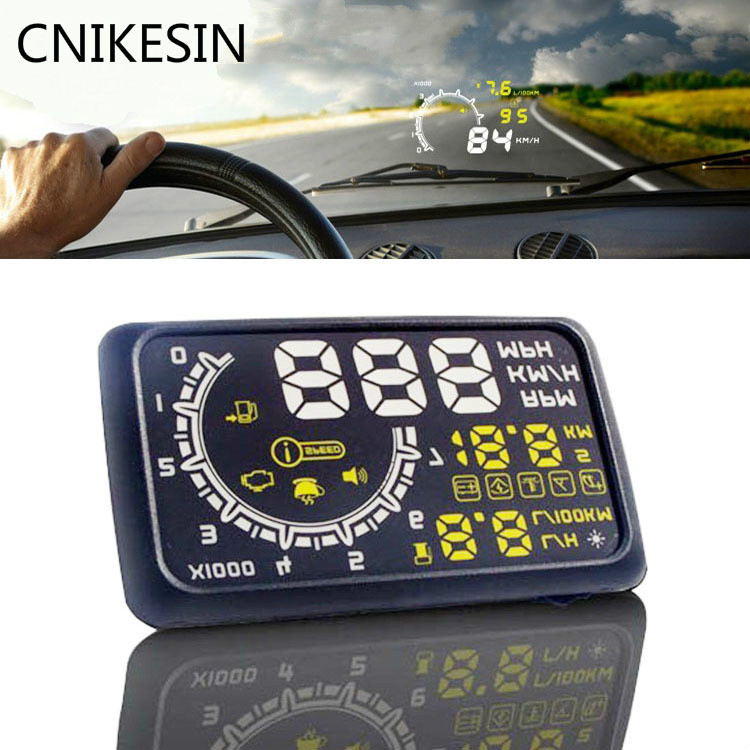 CNIKESIN Car Head up Display 5.5 universal HUD GPS projection OBD Display Overspeed Warning Dashboard Windshield Projector rastp m9 hud 5 5 inch head up windscreen projector obd2 euobd car driving data display speed rpm fuel consumption rs hud011