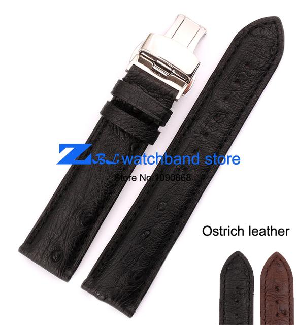 Avestruz correas de reloj del cuero muy suave y cómodo 18 mm 19 mm 20 mm 21 mm 22 mm correa del cinturón de pulsera banda broche dorado