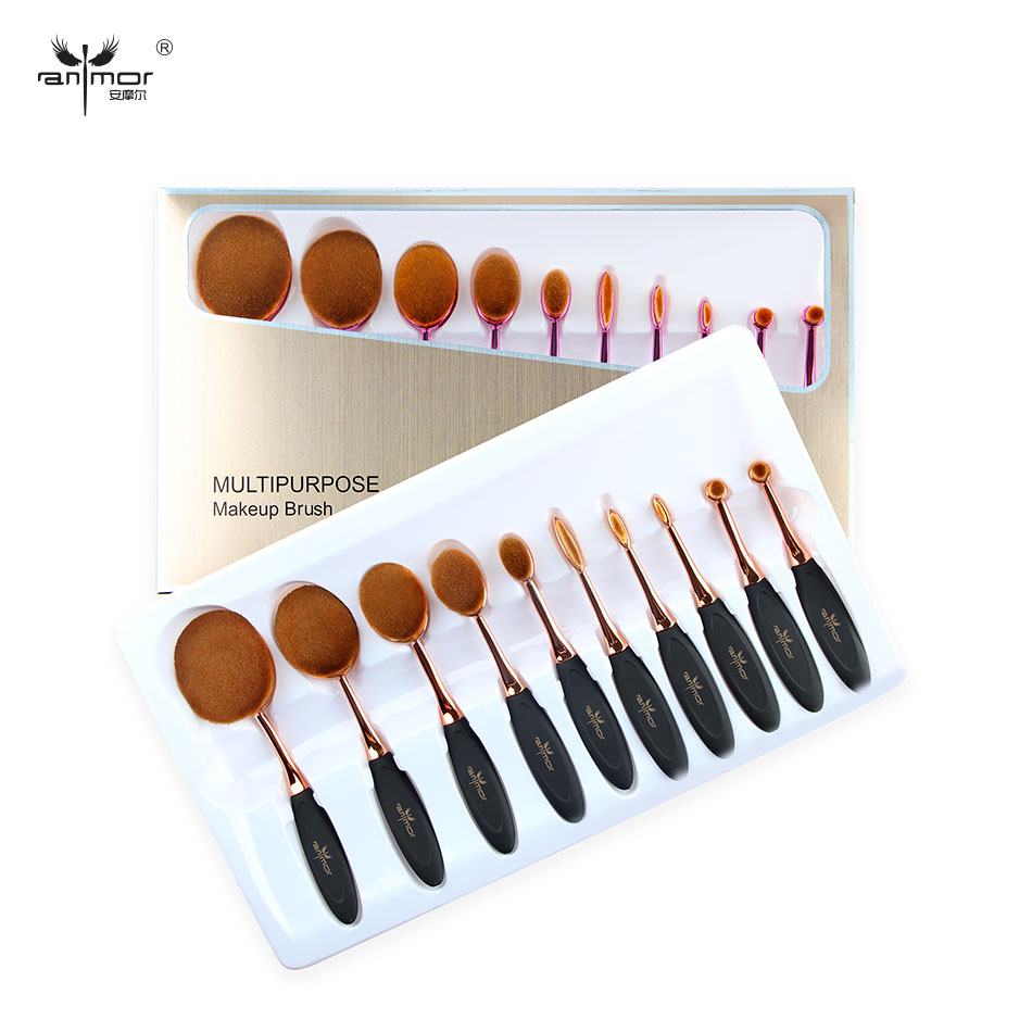 Baru Kedatangan Oval Makeup Brushes 10 PCS Makeup Brush Set Serbaguna Bedak Alis Yayasan Brush Kit Dengan Kotak