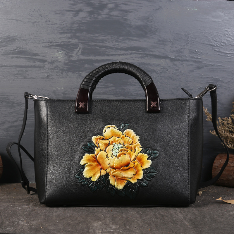 Genuine Leather Women Handbags Tote Bolsa Feminina Fashion Designer Flowers Shoulder Crossbody Bags Messenger Bag Sac a main chispaulo 2017 women genuine leather handbags cowhide women s messenger shoulder bags crossbody bolsa femininas tassel new c137