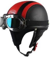 Leather covered half face helmet with Goggles wear motorcycle helmet free shipping