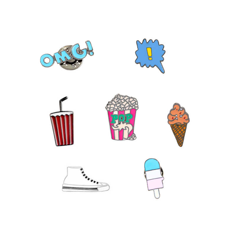 7 Gaya Fashion Lucu Kartun Bros Pin OMG Ice Cream Putih Sepatu Kanvas Enamel Pin Kemeja Denim Kerah Bros Tombol hot Sale