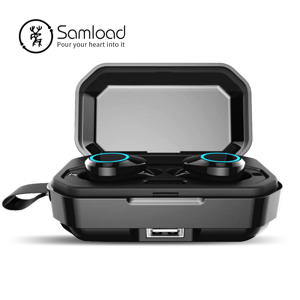Samload Wireless Headphones Touch control Bluetooth 5 0 Earbud IPX7 Waterproof Earphones with 3000mAh Power bank