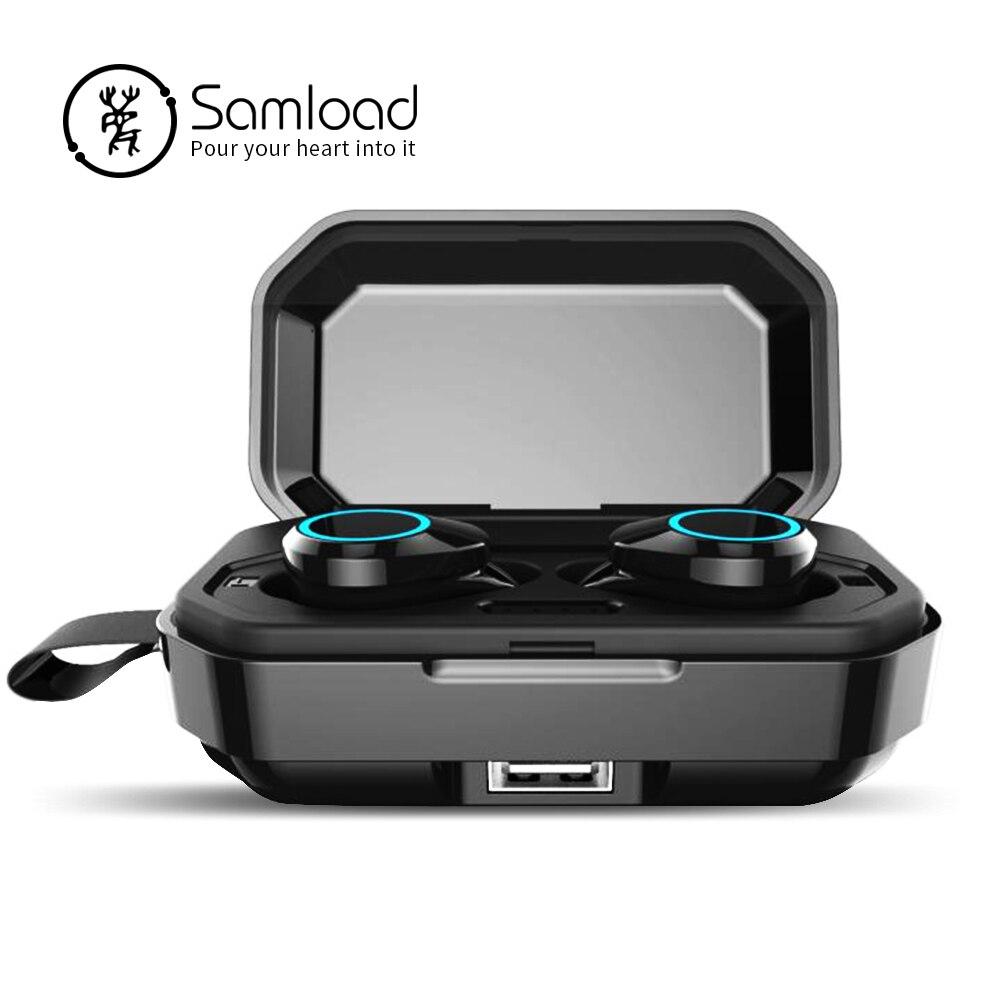 Écouteurs sans fil Samload contrôle tactile Bluetooth 5.0 écouteurs étanche IPX7 avec batterie externe 3000 mAh pour téléphone intelligent-in Écouteurs et casques from Electronique    1