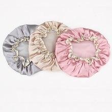 Chapéus de banho de cetim para mulheres, bonés de banho coloridos, cobertura dupla à prova d'água, 1 peça