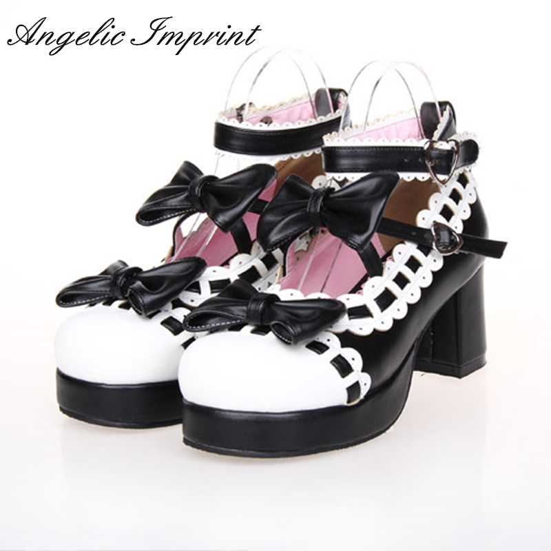 6.5cm Heel Black & White Sweet Lolita Mary Jane Shoes Pumps Princess Girls Tea Party Shoes princess sweet lolita shoes japanese design customized special shaped black matt tie platform heel shoes 8528x