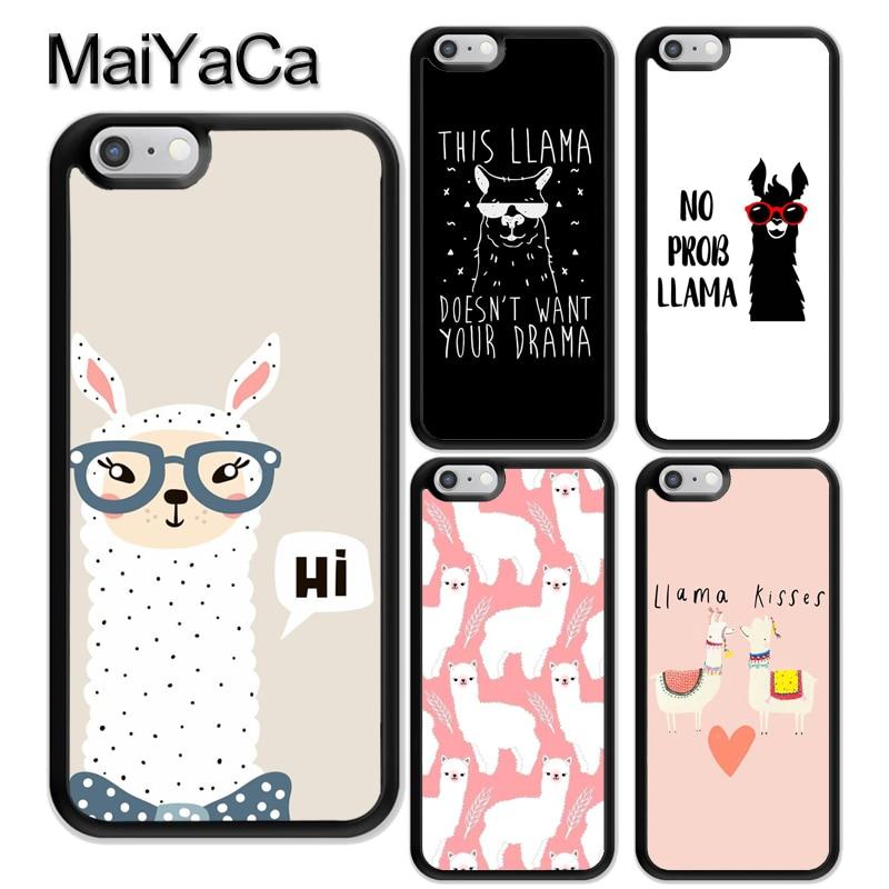 MaiYaCa No Prob-llama Lama Quotes Rubber Phone Case For iPhone X 6 6S 7 8 Plus 5