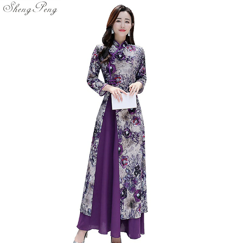 2019 New Traditional  Folk Style Chinese Women Simple Dress Vintage Vietnam Robes Dress Stand Elegant Improved Long Qipao  V1505