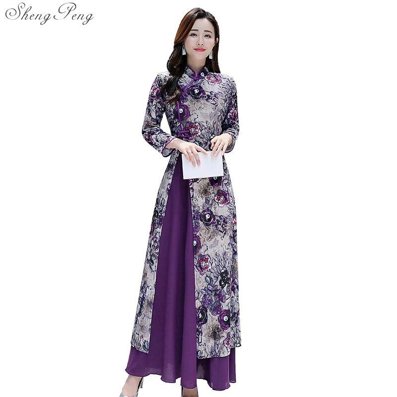 2019 nouveau style populaire traditionnel chinois femmes simple robe vintage vietnam robes robe stand élégant amélioré long qipao V1505