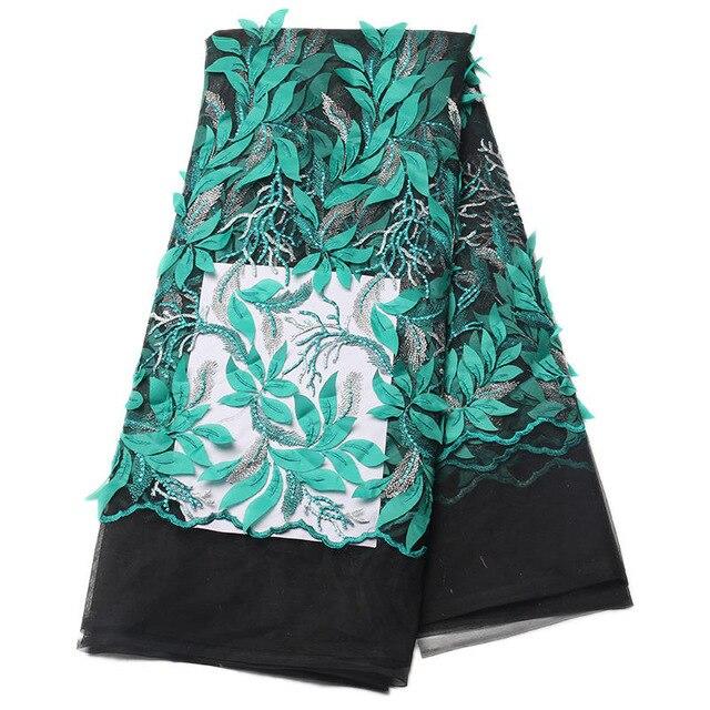 Dernière mariée français dentelle tissu vert + noir africain tulle dentelle tissu 3d fleurs 5 yards par lot net dentelle tissu pour robe