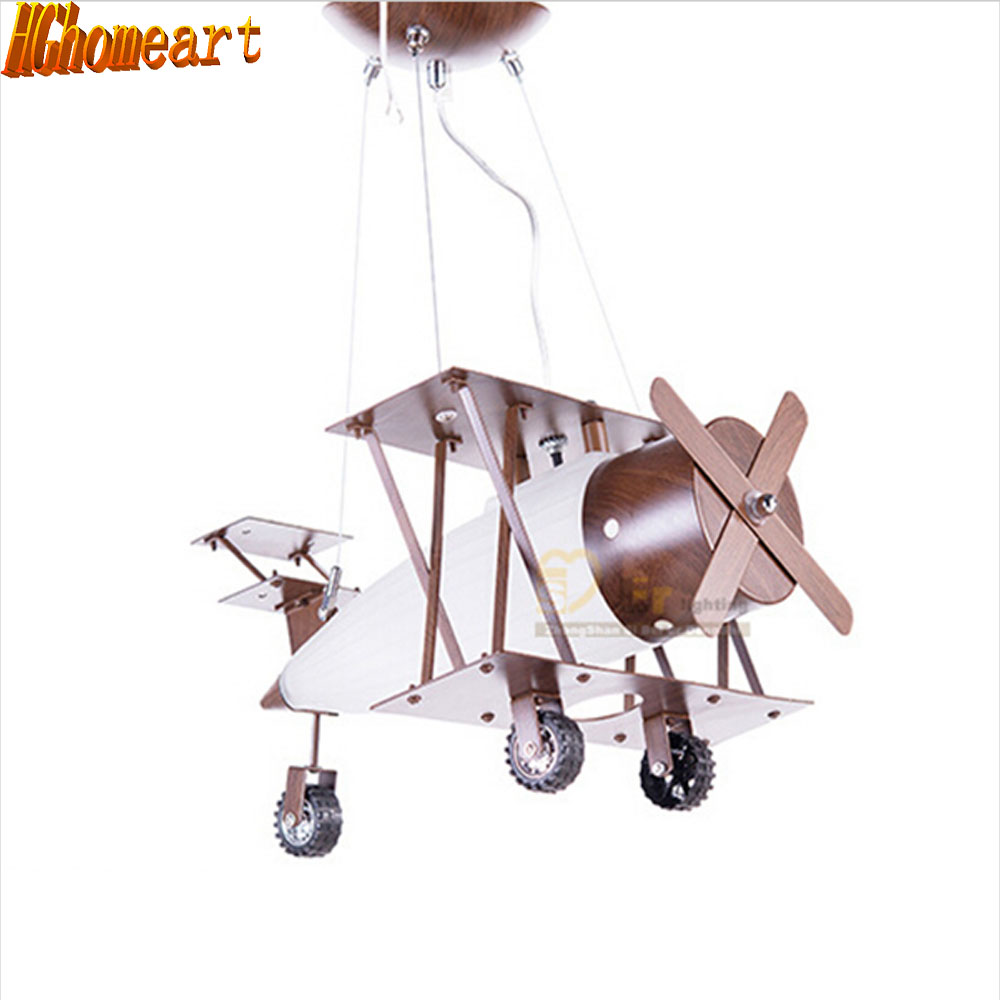 HGhomeart Antique Iron Wood Fashion Children 's Room Aircraft Led pendant light Bedroom Led hanging lighting fixtures Creativity hghomeart children room iron aircraft pendant light led 110v 220v e14 led lamp boy pendant lights for dining room modern hanging