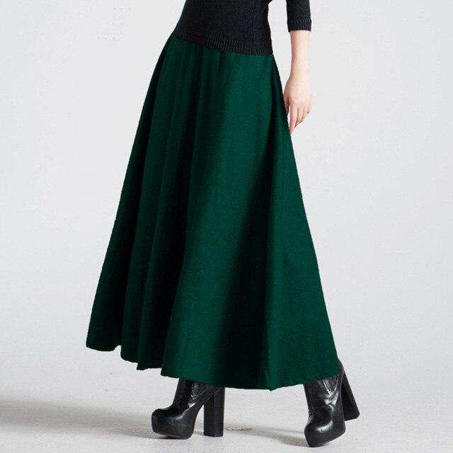 Retro Autumn Winter Women Faldas Long Skirt Jupe High Waist Elegant Pleated  Woolen Skirt Dark Green Maxi Wool Skirt Womens C3566
