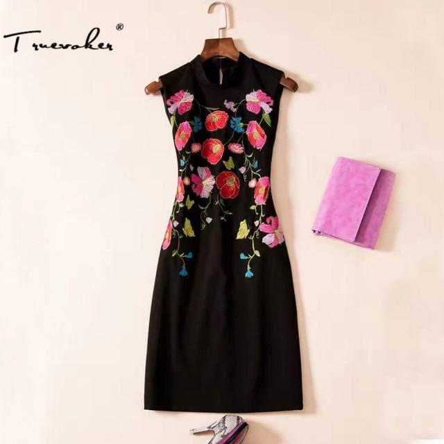 51e62ebca9a Truevoker Designer Dress Ladies' High Quality Sleeveless Stand Collar  Elegant Floral Embroidery Plus Size XXL Black Vestido