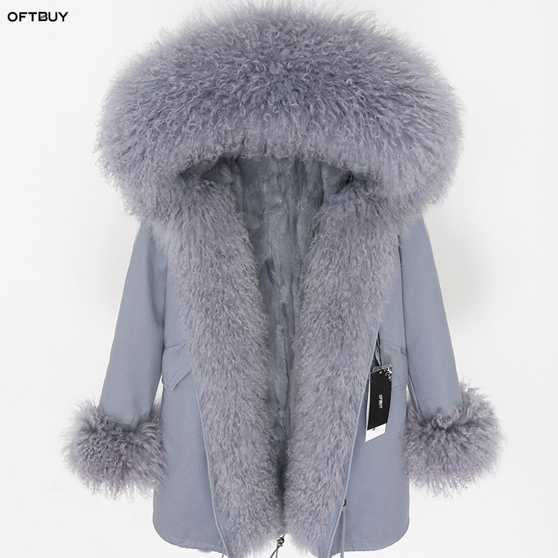 OFTBUY 2019 Winter Jacket Women Real Fur Coat Parka Mongolia Sheep Fur collar rabbit fur liner black long coat Streetwear new