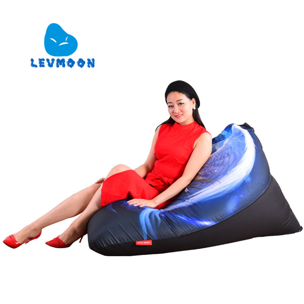 LEVMOON Beanbag Sofa Chair  Blue Angel Seat Zac Comfort Bean Bag Bed Cover Without Filler Cotton Indoor Beanbag Lounge Chair