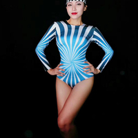 Women's New Blue White Long Sleeves Stretch Sexy Bodysuit Prom Party Bodysuit Nightclub Outfit Women Singer Dancer Show Clothes