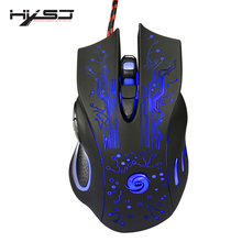 HXSJ Mechanical Game Mouse  5600 DPI 6 Button Colorful LED Backlit Light USB Wired Optical Gaming Mouse