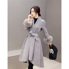 Elegante Slim mujeres invierno lana mezcla otoño lana larga chaqueta Casual  sólido piel desmontable más tamaño ropa de abrigo 0b218b4b3f1e