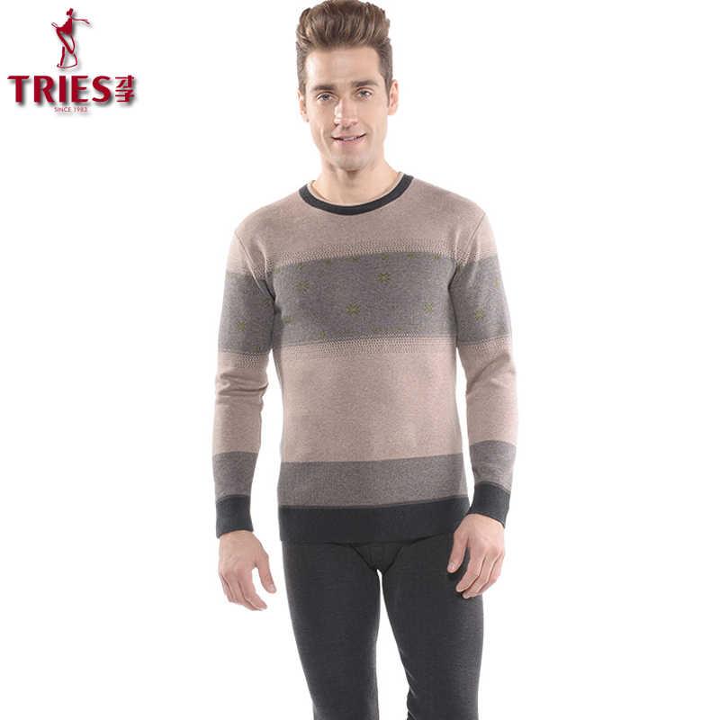 8c96be74c37 TRIES Thermal Underwear Sets Men 2018 New Winter Warm Men s Thicken Thermo Underwear  Male Warm Long