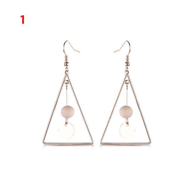 1 Pair Fashion Simple Jewelry Geometric Shapes Bead Earrings Long Tel Ear Hoop Earring