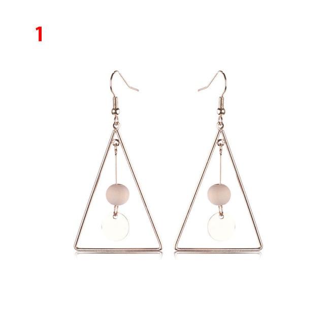 1 Pair Fashion Simple Jewelry Geometric Shapes Bead Earrings Long Tel Ear Hoop Earring